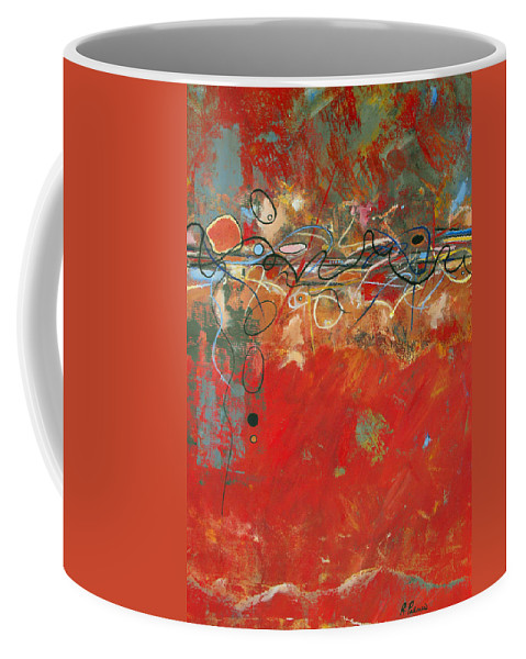ruth Palmer Abstract Gestural Color Red Painting Acrylic Black Orange Blue Yellow Green Decorative Coffee Mug featuring the painting Red Meander by Ruth Palmer