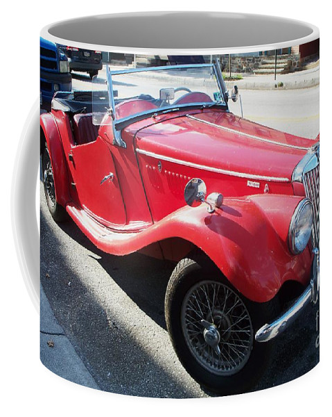Red Coffee Mug featuring the painting Red Mg Antique Car by Eric Schiabor