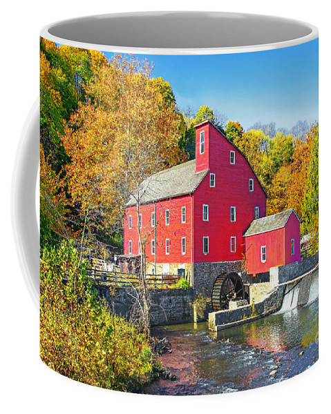 New Jersey Autumn Coffee Mug featuring the photograph Red Mill Nj Fall Landscape by Regina Geoghan