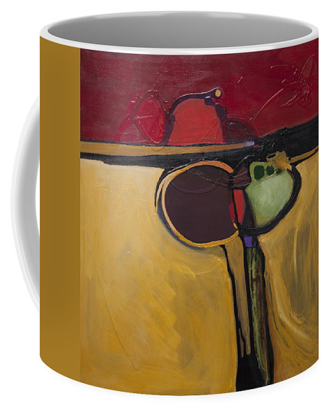 Abstract Coffee Mug featuring the painting Red Moon Rising by Marlene Burns