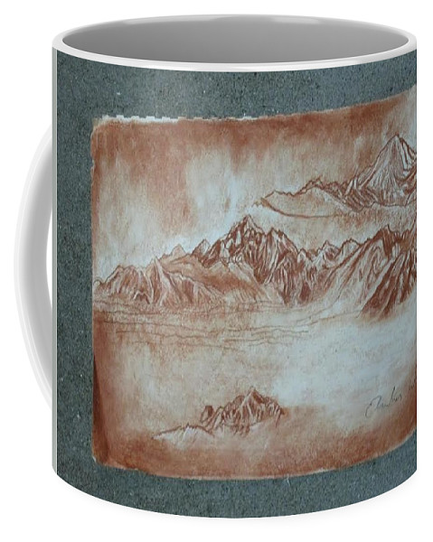 Red Coffee Mug featuring the drawing Red Mountains by Amber Whiteman