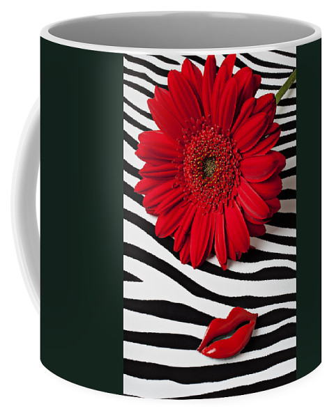 Red Coffee Mug featuring the photograph Red Mum And Red Lips by Garry Gay