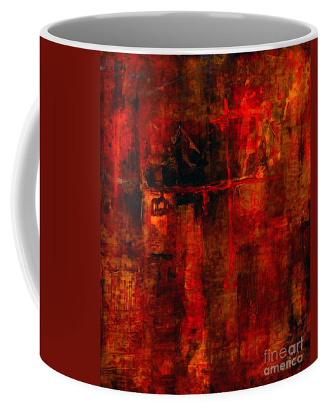 Abstract Painting Coffee Mug featuring the painting Red Odyssey by Pat Saunders-White