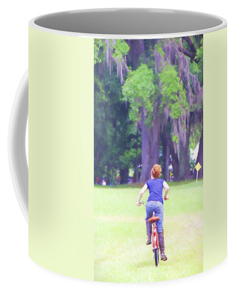 Bike Coffee Mug featuring the photograph Red On Her Bike by Alice Gipson