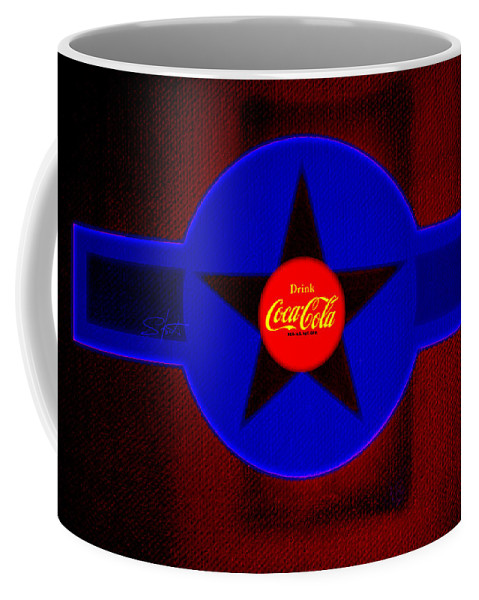 Label Coffee Mug featuring the painting Red On Red With Blue by Charles Stuart