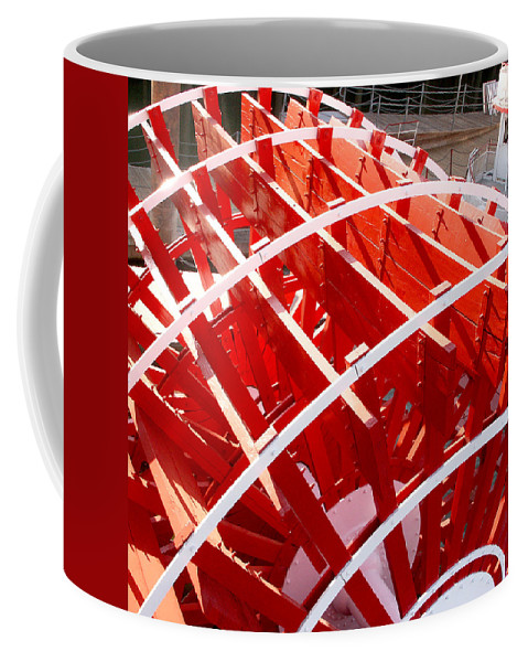 Sacramento Coffee Mug featuring the photograph Red Paddle Wheel by Art Block Collections