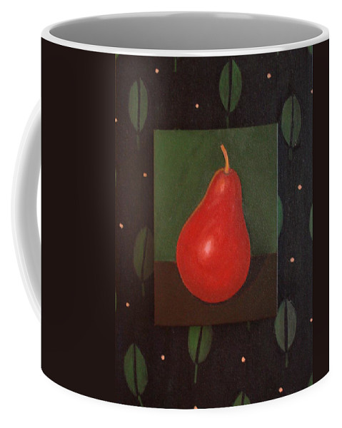 Pear Coffee Mug featuring the painting Red Pear by Helena Tiainen