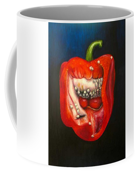 Pepper Coffee Mug featuring the painting Red Pepper Oil Painting by Natalja Picugina