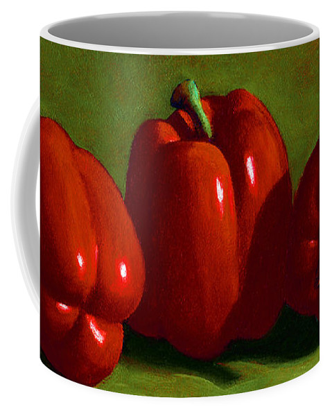 Red Peppers Coffee Mug featuring the painting Red Peppers by Frank Wilson