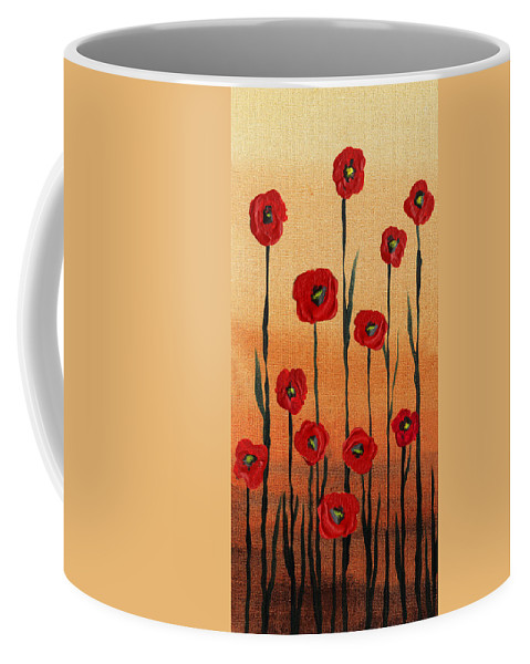 Poppies Coffee Mug featuring the painting Red Poppies Decorative Art by Irina Sztukowski