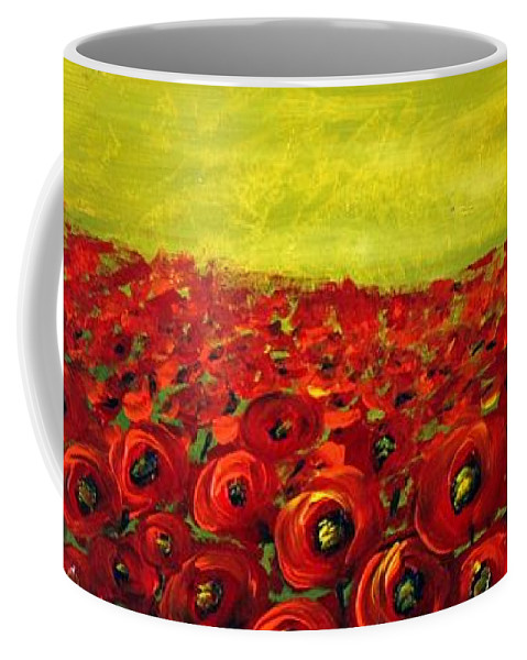 Flowers Coffee Mug featuring the painting Red Poppies Field by Luiza Vizoli