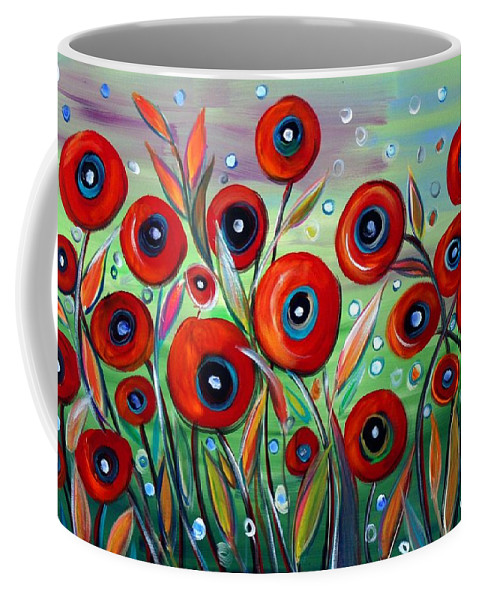 Flowers Coffee Mug featuring the painting Red Poppies In Grass by Luiza Vizoli