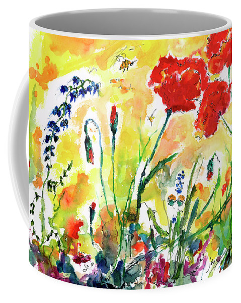 Poppies Coffee Mug featuring the painting Red Poppies Provence 2017 by Ginette Callaway