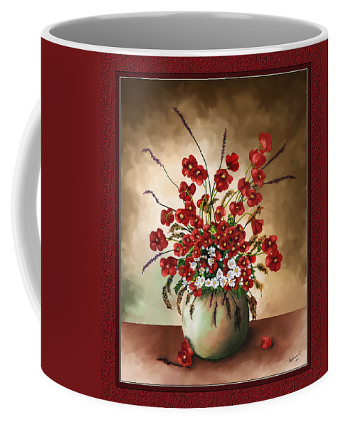 Red Poppies Coffee Mug featuring the digital art Red Poppies by Susan Kinney