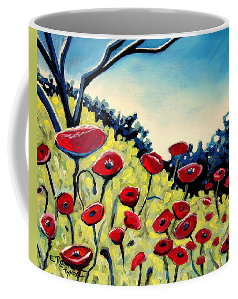 Poppies Coffee Mug featuring the painting Red Poppies Under A Blue Sky by Elizabeth Robinette Tyndall