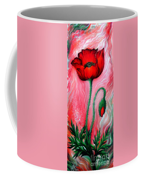 Poppy Coffee Mug featuring the painting Red Poppy Flower. Pink Sunset by Sofia Metal Queen