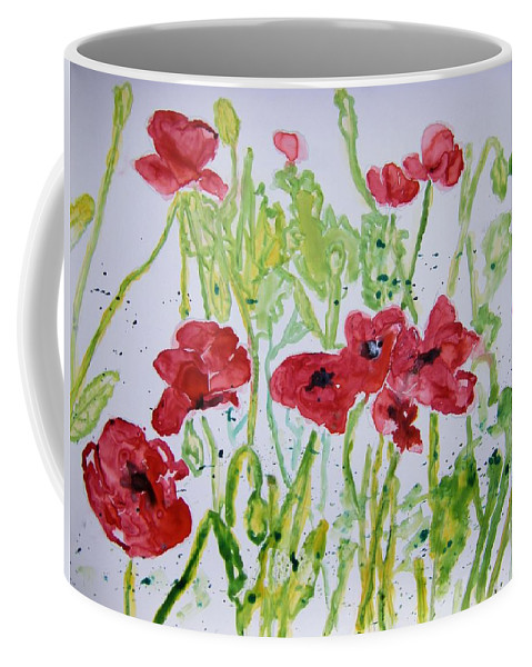 Poppy Coffee Mug featuring the painting Red Poppy Flowers by Derek Mccrea