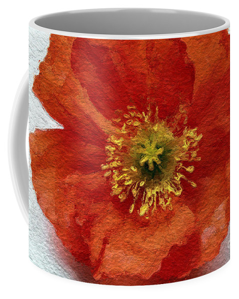 Poppy Coffee Mug featuring the mixed media Red Poppy by Linda Woods