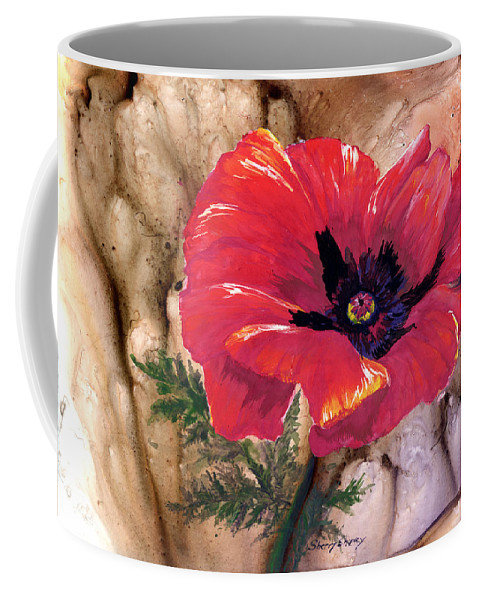 Flower Coffee Mug featuring the painting Red Poppy by Sherry Shipley
