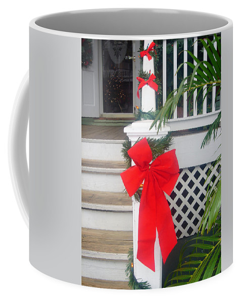 Christmas Ribbon Coffee Mug featuring the photograph Red Ribbon On Steps by Susanne Van Hulst