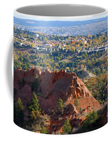 Rock Quarry Coffee Mug featuring the photograph Red Rock Canyon Rock Quarry And Colorado Springs by Steve Krull