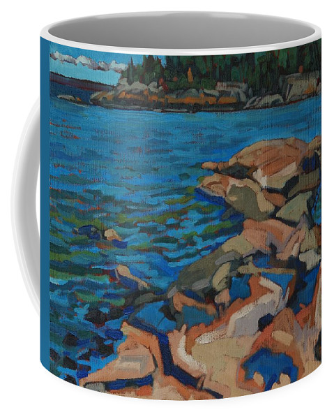 Killarney Coffee Mug featuring the painting Red Rocks And Pooled Water by Phil Chadwick
