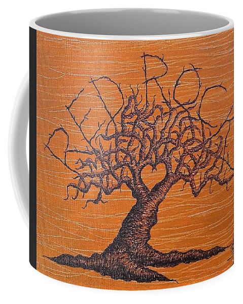 Red Rocks Coffee Mug featuring the drawing Red Rocks Love Tree by Aaron Bombalicki
