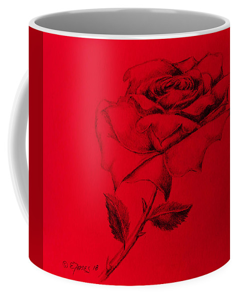 Red Rose Coffee Mug featuring the painting Red Rose by Edgar Torres