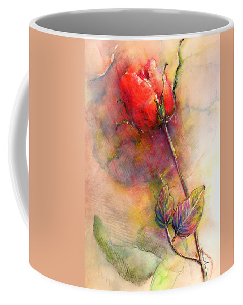Red Rose Coffee Mug featuring the painting Red Rose From The Past by Miki De Goodaboom