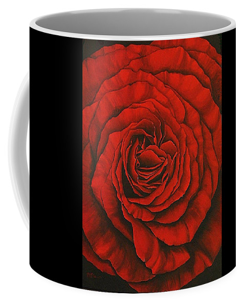 Red Coffee Mug featuring the painting Red Rose II by Rowena Finn