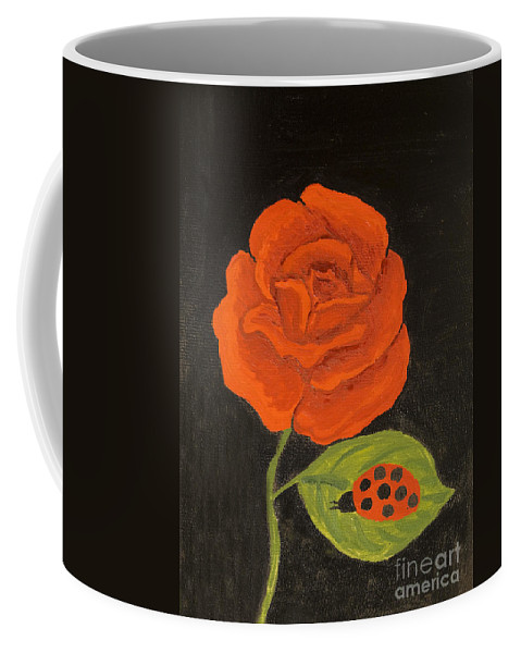 Rose Coffee Mug featuring the painting Red Rose, Oil Painting by Irina Afonskaya