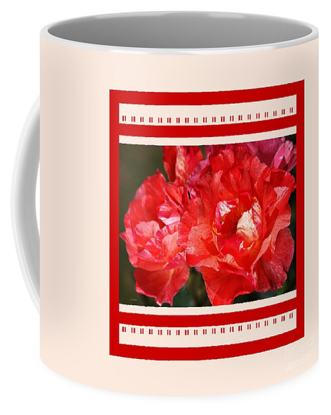 Rose Coffee Mug featuring the photograph Red Rose With A Whisper Of Yellow And Design by Joy Watson