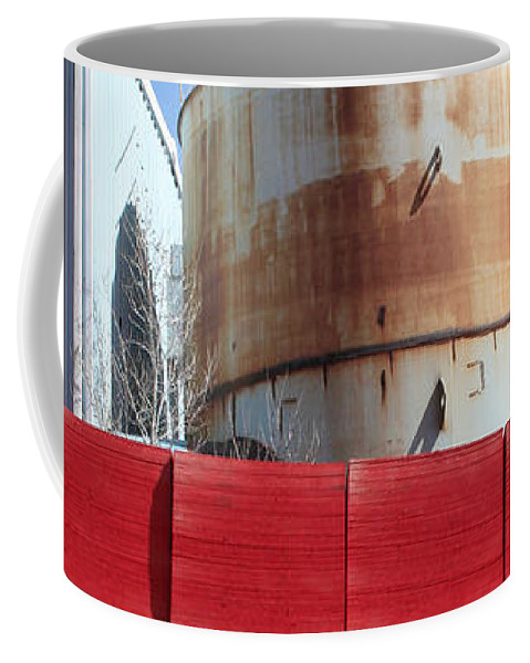 Red Coffee Mug featuring the photograph Red Rust And Blue by Ric Bascobert