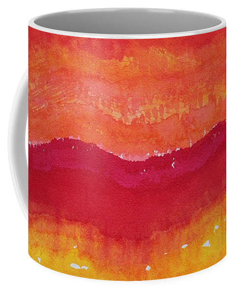 Ink Coffee Mug featuring the painting Red Saddle Original Painting by Sol Luckman