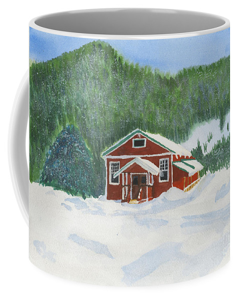 Schoolhouse Coffee Mug featuring the painting Red School House by Louise Magno