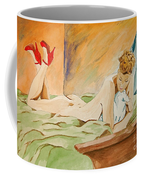 Nude Coffee Mug featuring the painting Red Shoes by Herschel Fall