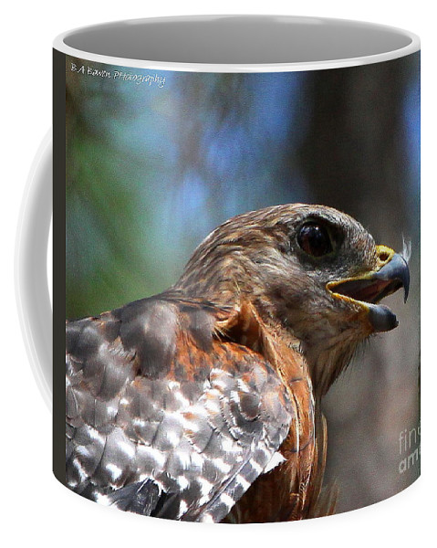 Red Shouldered Hawk Coffee Mug featuring the photograph Red Shouldered Hawk - Profile by Barbara Bowen