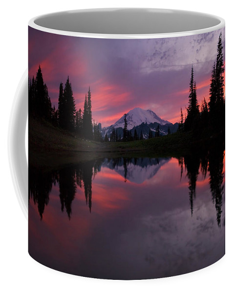 Rainier Coffee Mug featuring the photograph Red Sky At Night by Mike Dawson