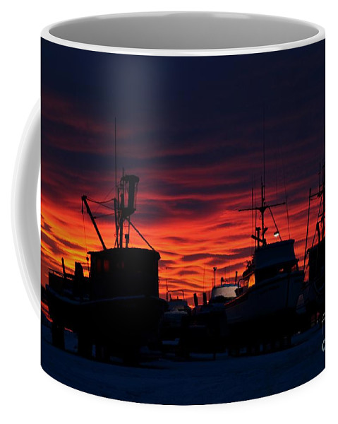 Sunset Coffee Mug featuring the photograph Red Sky At Night by Rick Monyahan