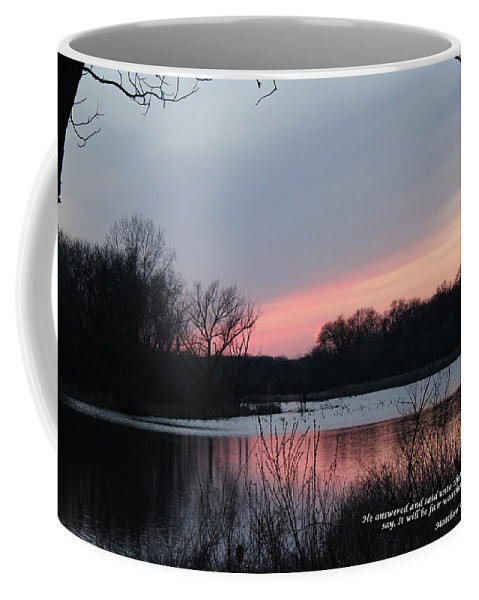 Valley Coffee Mug featuring the mixed media Red Sky by Cliff Ball