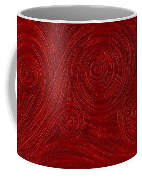 Abstract Coffee Mug featuring the painting Red Swirl by Laura Teti