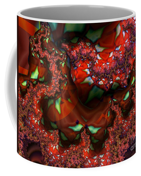 Berry Coffee Mug featuring the digital art Red Thread by Ron Bissett
