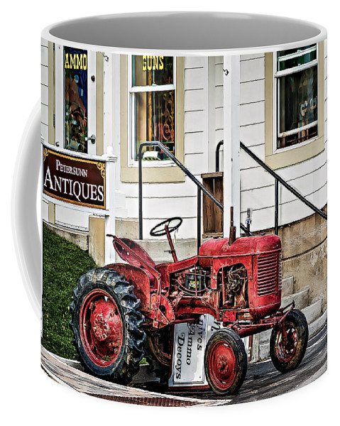 Agricultural Coffee Mug featuring the photograph Red Tracktor by Maria Coulson