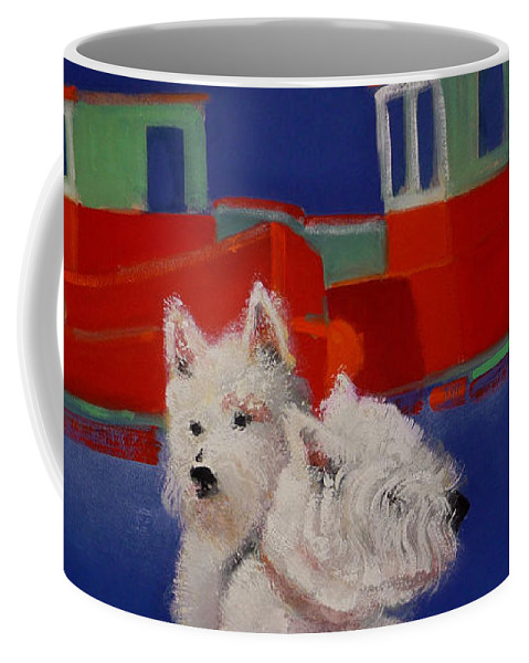 Seascapes Coffee Mug featuring the painting Red Trawlers by Charles Stuart