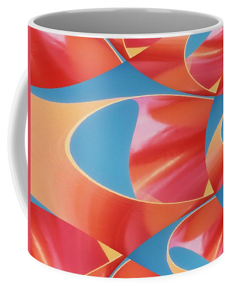 Tubes Coffee Mug featuring the digital art Red Tubes by Tim Allen