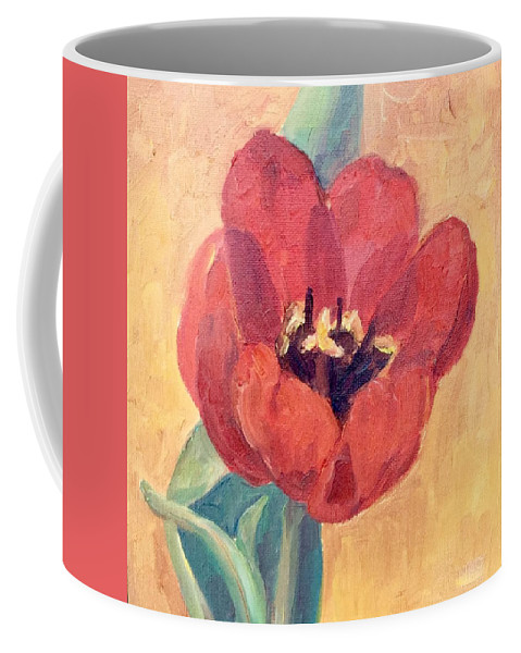 Floral Still-life Coffee Mug featuring the painting Red Tulip by Mary Ann Clady