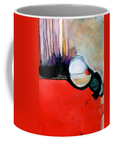 Abstract Coffee Mug featuring the painting Red Twin Leaps And Bounds by Marlene Burns