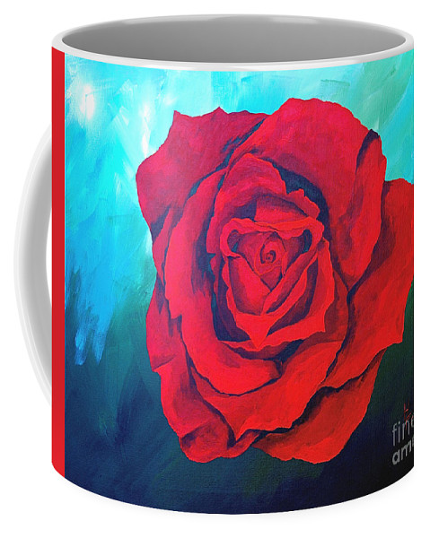 Red Rose Deep Red Rose 3d Ice Rose Coffee Mug featuring the painting Red Velvet by Herschel Fall