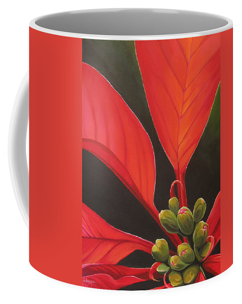 Poinsettia Closeup Coffee Mug featuring the painting Red Velvet by Hunter Jay