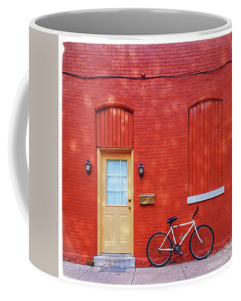 Red Coffee Mug featuring the photograph Red Wall White Bike by Edward Fielding
